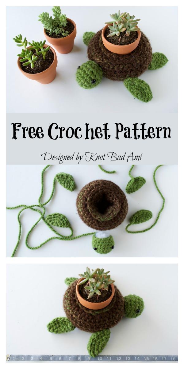 World Turtle Succulent Holder Free Crochet Pattern
