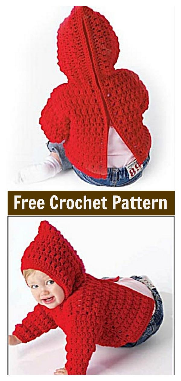 Zip Back Baby Hoodie Sweater Free Crochet Pattern