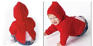 Zip Back Baby Hoodie Sweater Free Crochet Pattern