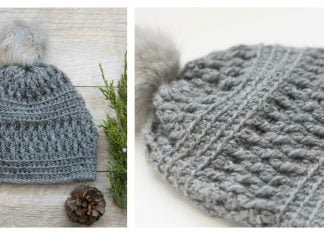 Alpaca Squishy Pom Beanie Hat Free Crochet Pattern