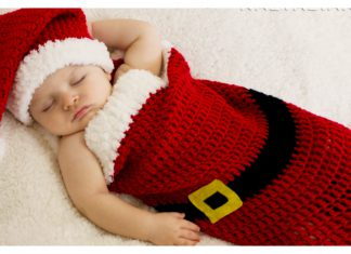 Baby Santa Hat and Cocoon Free Crochet Pattern and Video Tutorial