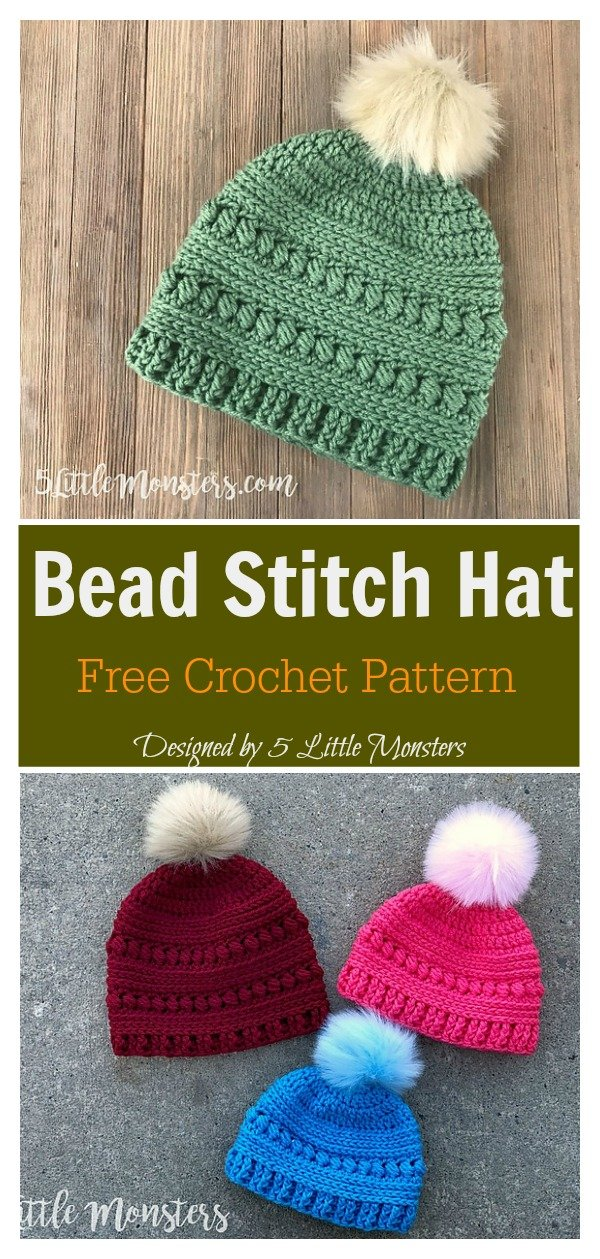 Bead Stitch Hat Free Crochet Pattern (Adult Size)