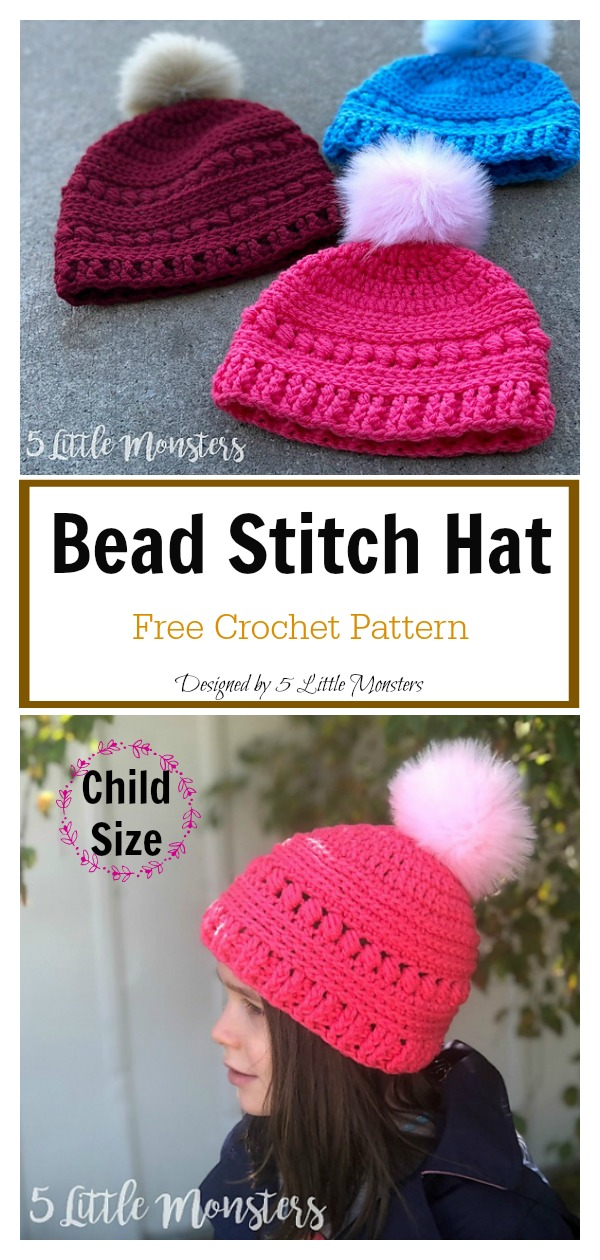 Bead Stitch Hat Free Crochet Pattern (Child Size)