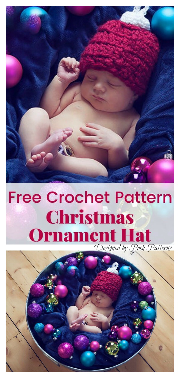 Christmas Ornament Baby Hat Free Crochet Pattern