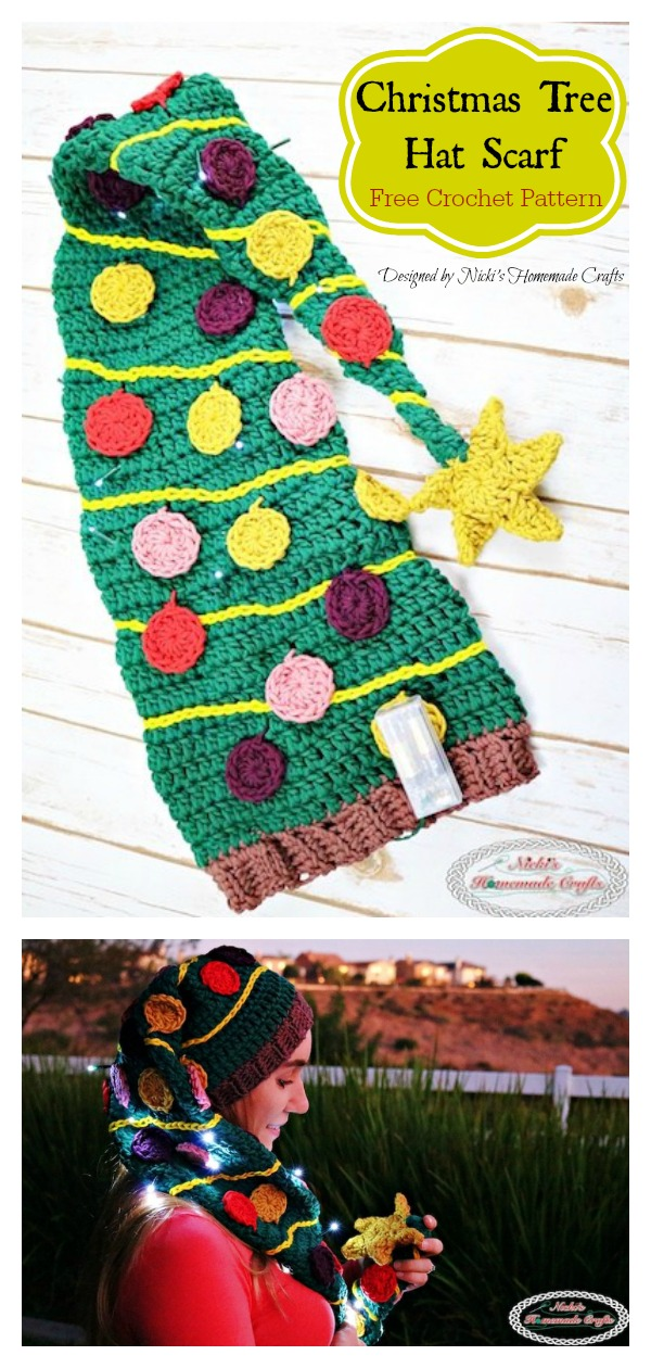 Christmas Tree Scarf Hat Duo Free Crochet Pattern