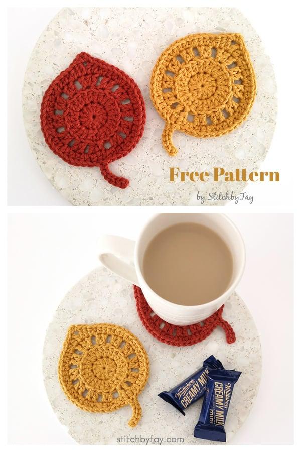 Fallen Leaves Coaster Free Crochet Pattern