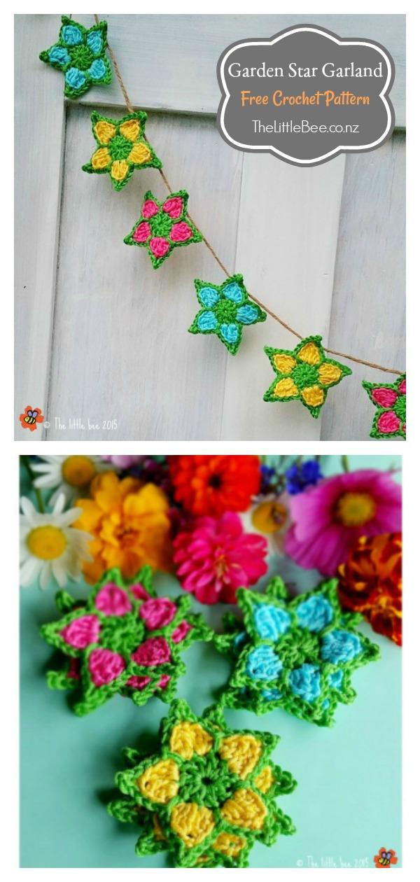 Garden Star Garland Free Crochet Pattern