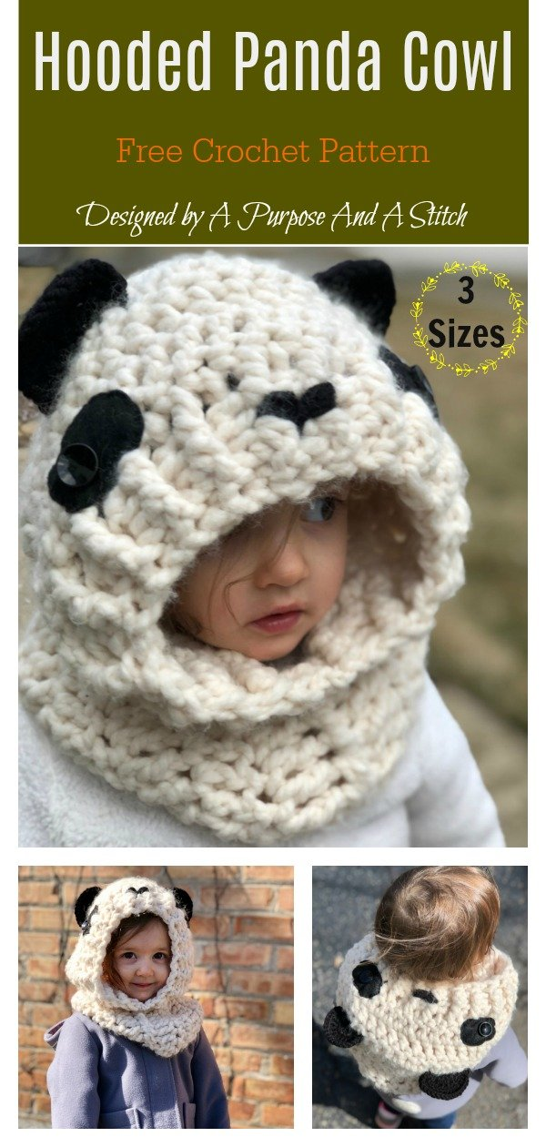 Hooded Panda Cowl Free Crochet Pattern