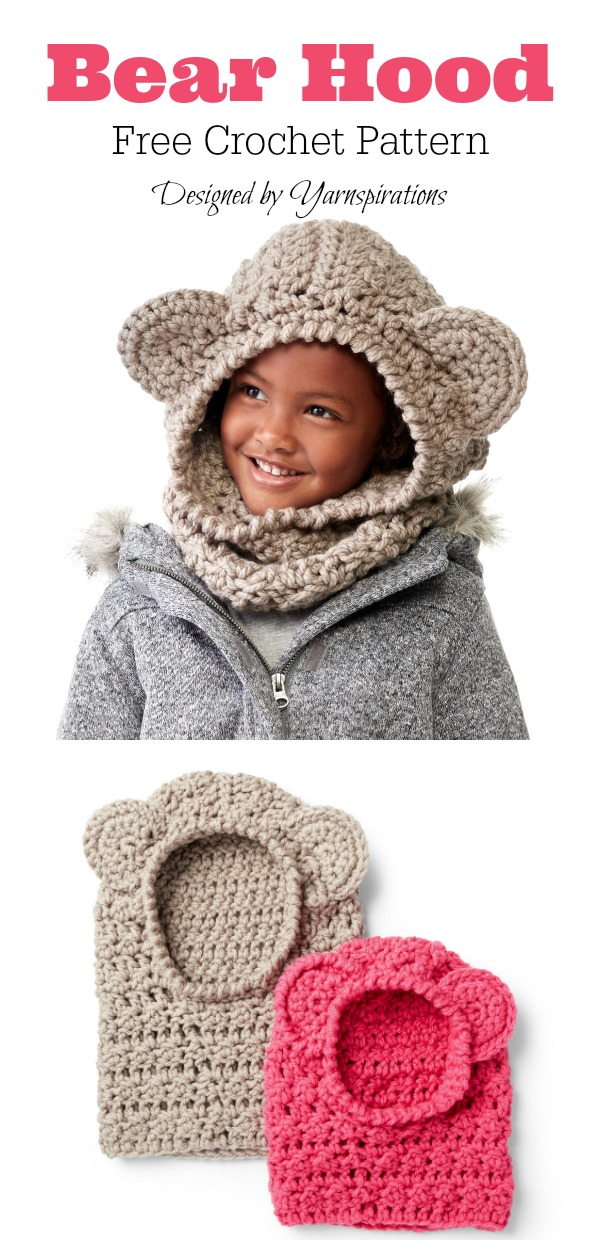 Kids Bear Hooded Cowl Free Crochet Pattern