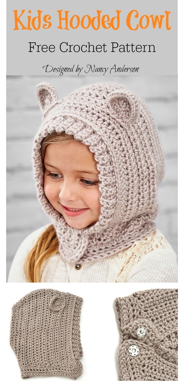 Kids Hooded Cowl Free Crochet Pattern