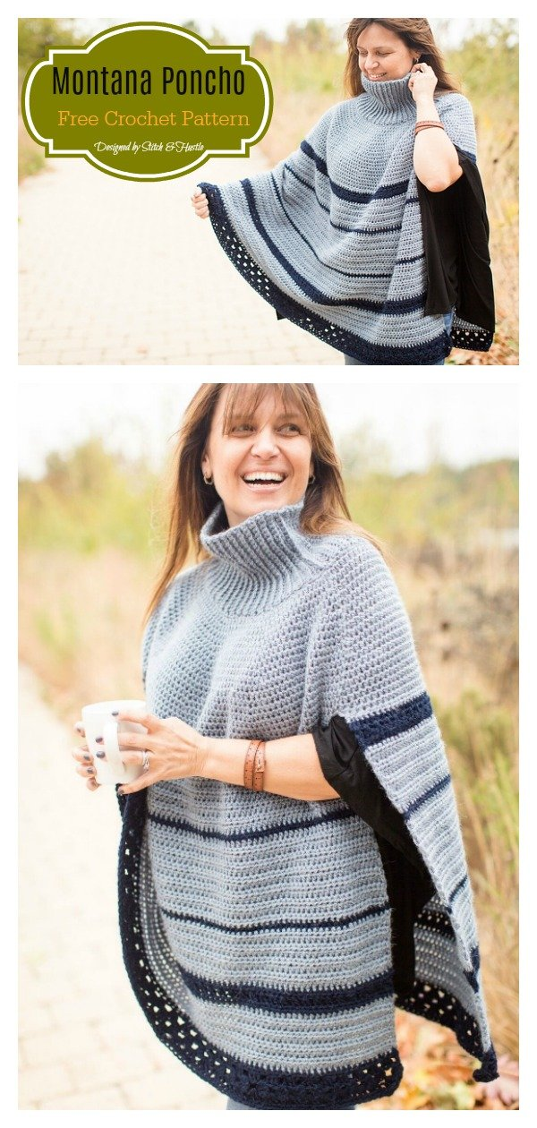 Montana Turtleneck Poncho Free Crochet Pattern