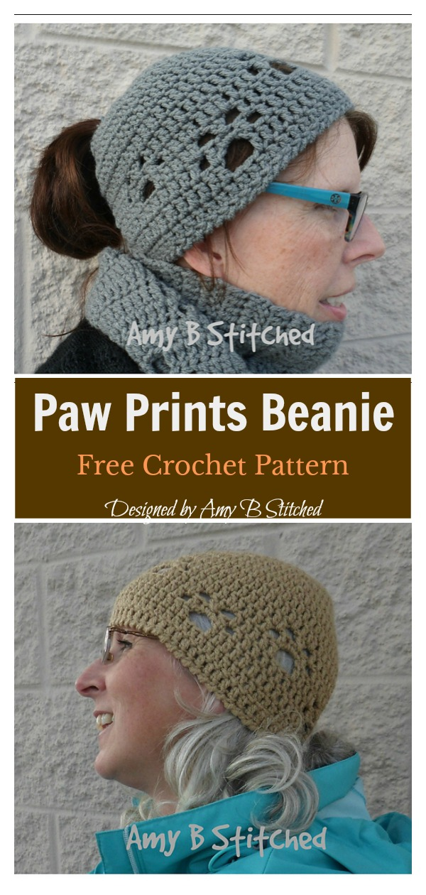Paw Prints Beanie Free Crochet Pattern