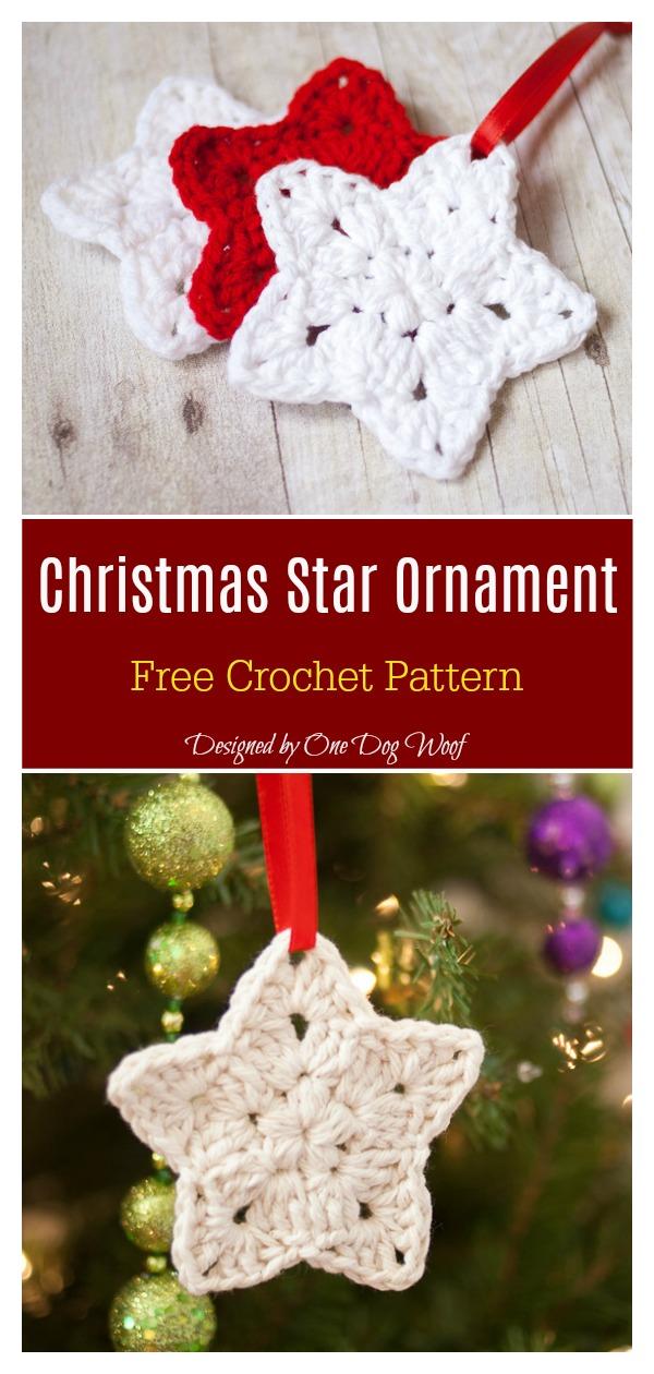 Puff Stitch Christmas Star Ornament Free Crochet Pattern