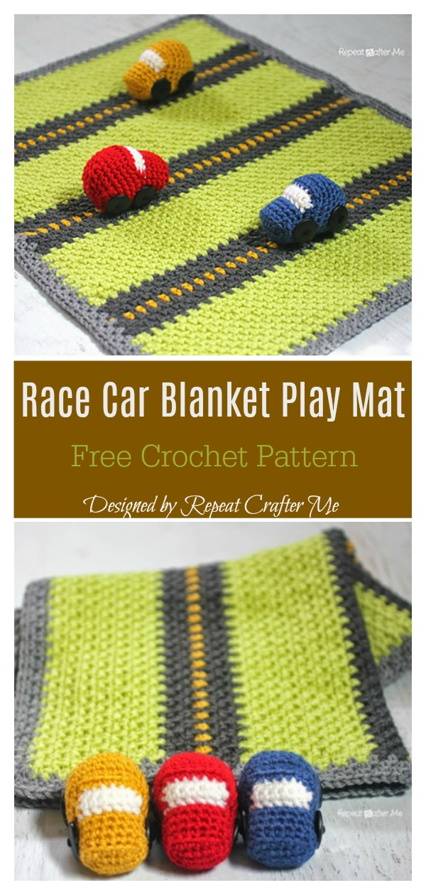 Race Car Blanket Play Mat Free Crochet Pattern