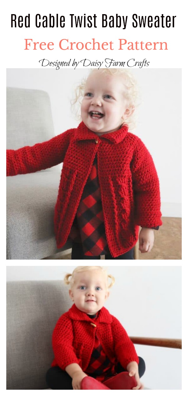 Red Cable Twist Baby Sweater Free Crochet Pattern