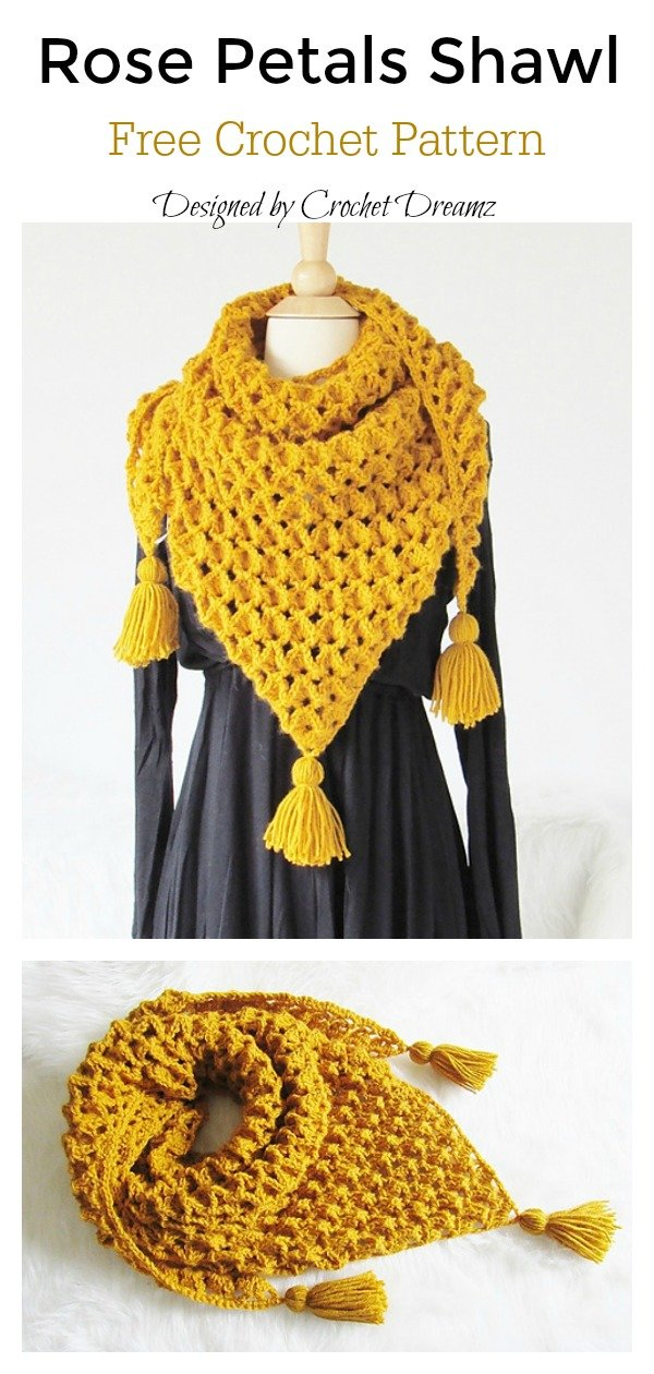 Rose Petals Shawl Free Crochet Pattern