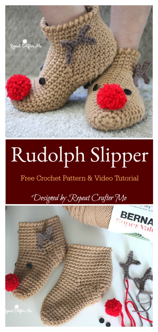 Rudolph Reindeer Slipper Socks Free Crochet Pattern and Video Tutorial