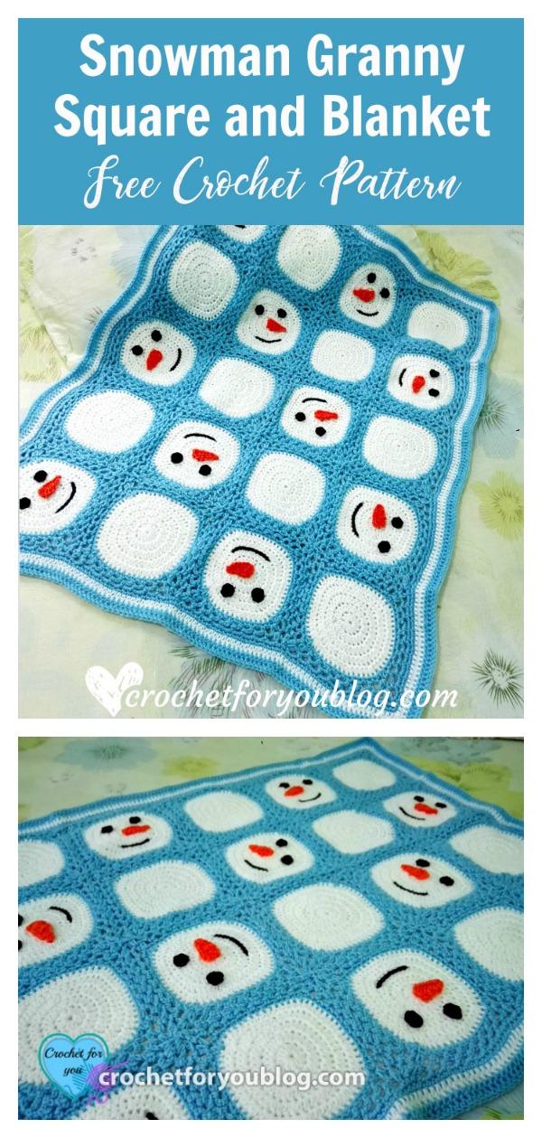 Snowman Granny Square Blanket Free Crochet Pattern