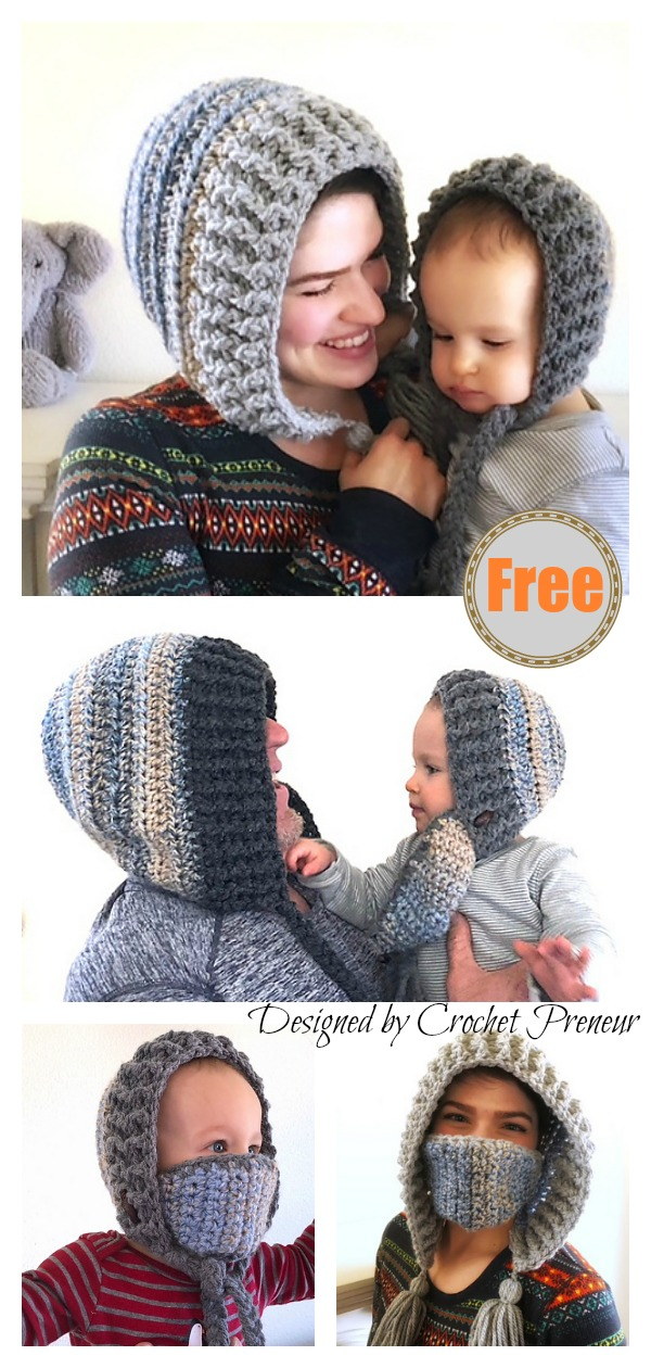Winter Hood with Removable Mask Free Crochet Pattern