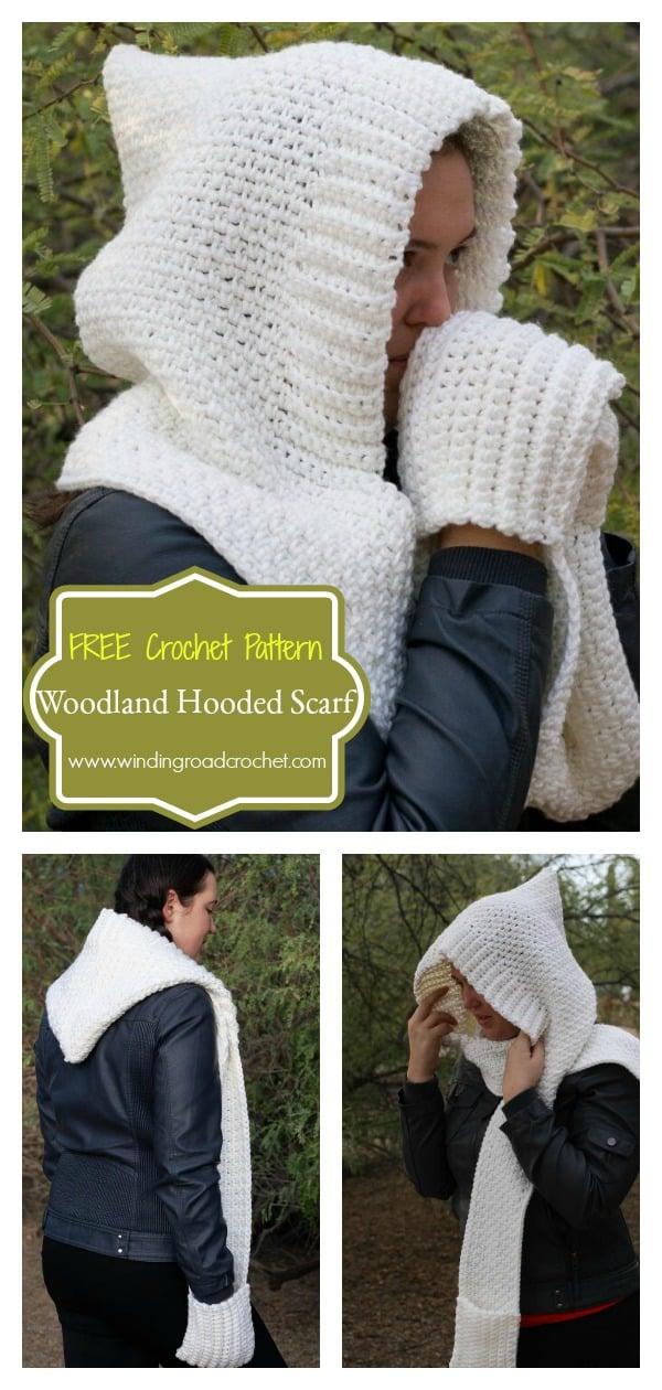 Woodland Hooded Scarf FREE Crochet Pattern