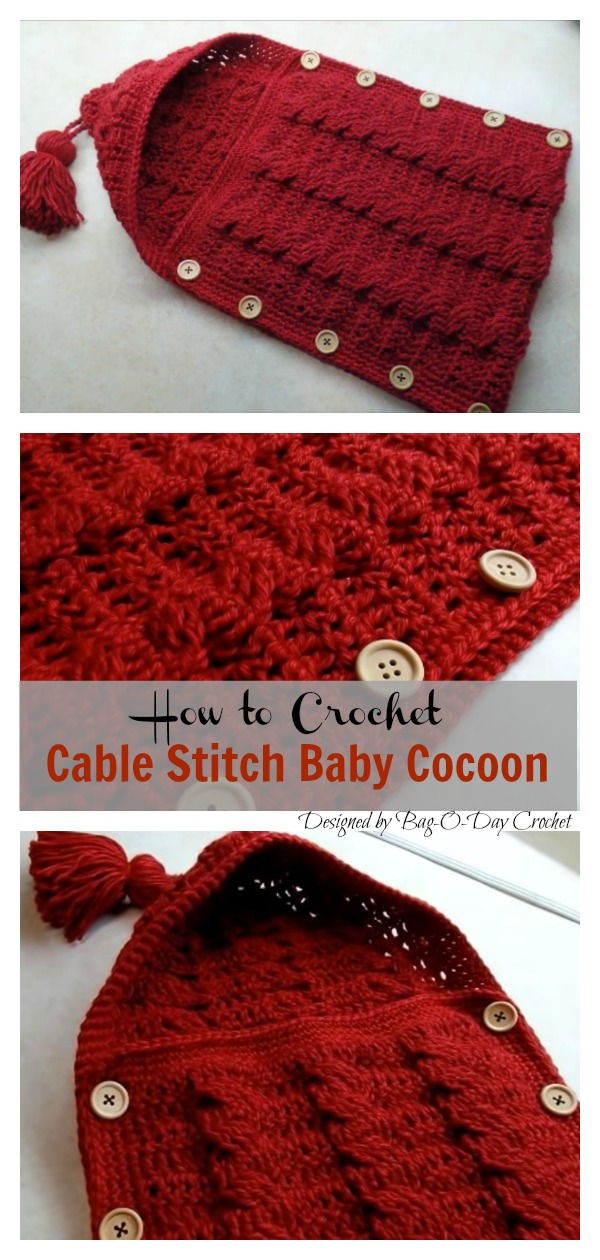 Crochet Cable Stitch Newborn Baby Bunting Cocoon Video Tutorial