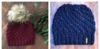 Diagonal Raised Beanie Free Crochet Pattern