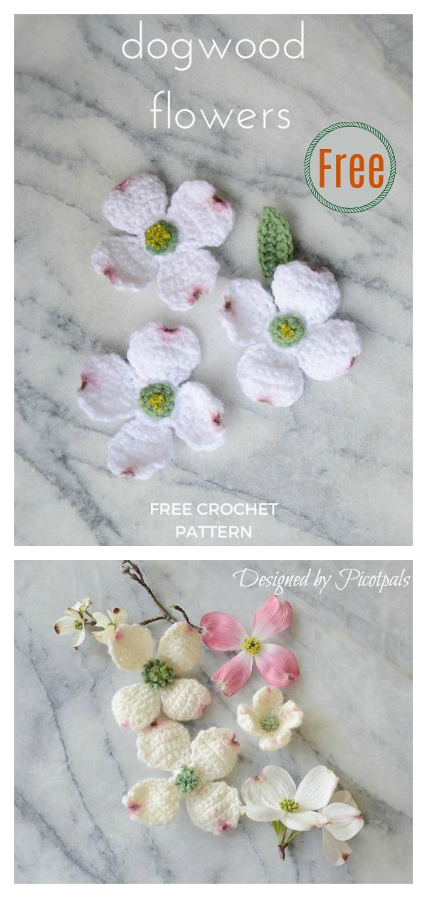 Dogwood Flowers Free Crochet Pattern