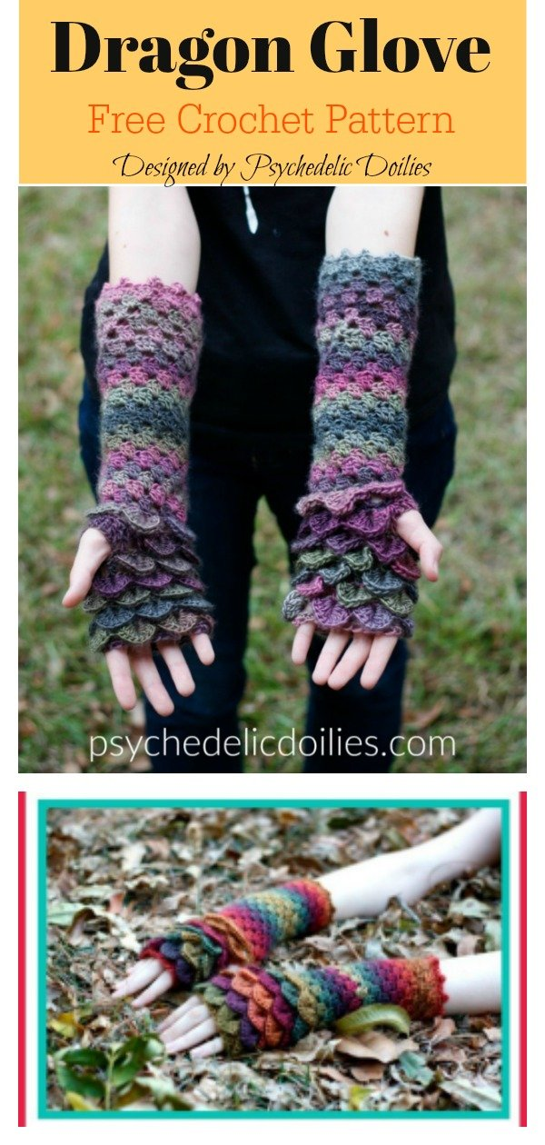 Dragon Fingerless Gloves Free Crochet Pattern