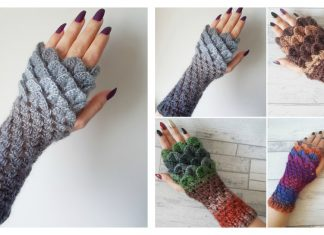 Dragon Scale Fingerless Gloves Free Crochet Pattern