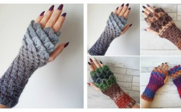 Dragon Scale Fingerless Gloves Free Crochet Pattern