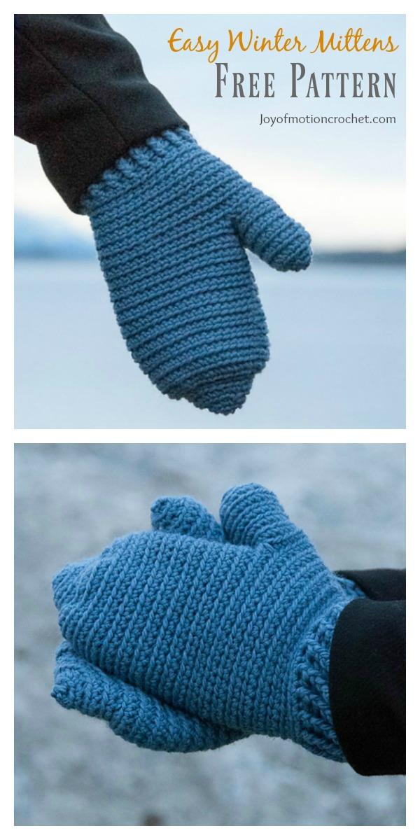 Easy Warm Winter Mittens Free Crochet Pattern