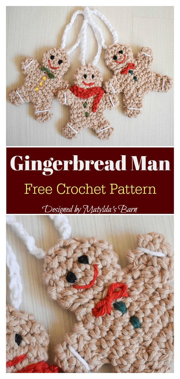 Gingerbread Man Ornament Free Crochet Pattern