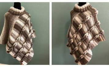 How to Crochet Braided Poncho with Turtleneck