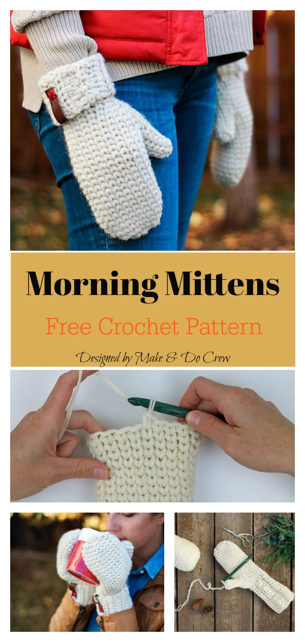 Knit Look Morning Mittens Free Crochet Pattern