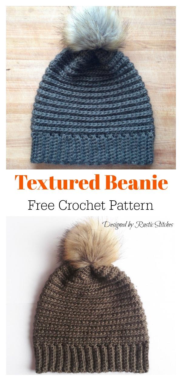 Knit Look Textured Beanie Hat Free Crochet Pattern