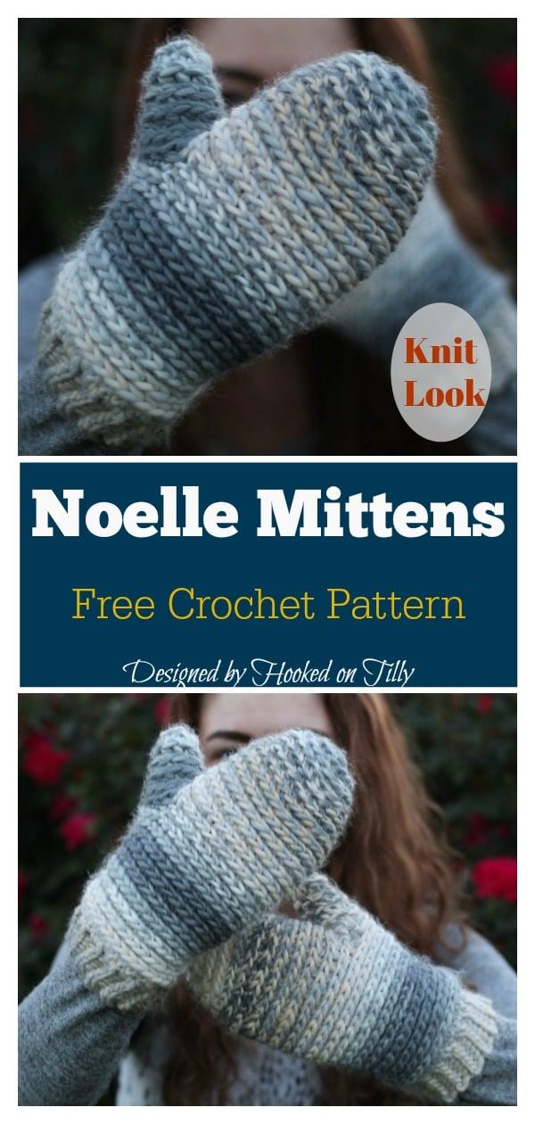 Noelle Knit Look Mittens Free Crochet Pattern