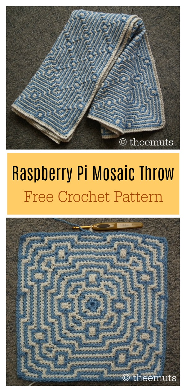 Raspberry Pi Mosaic Throw Free Crochet Pattern
