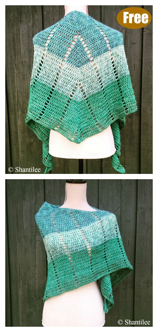 Simple Crescent Shawl Free Crochet Pattern