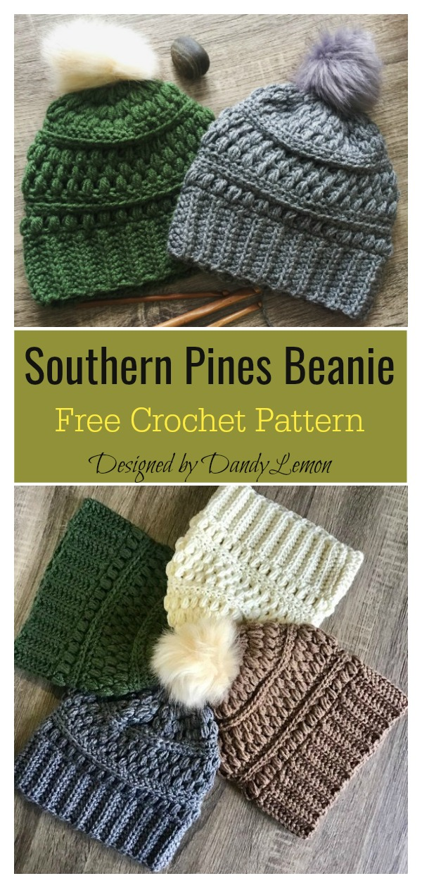 Southern Pines Beanie Free Crochet Pattern