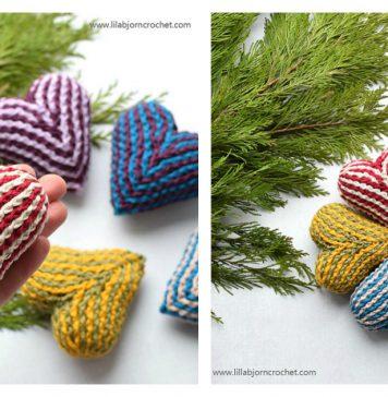 3D Brioche Heart Free Crochet Pattern
