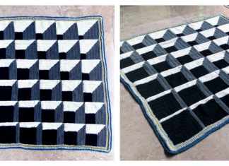 3D Illusion Cubine Blanket FREE Crochet Pattern