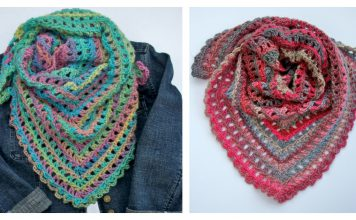 Candy Kisses Triangle Scarf Free Crochet Pattern and Video Tutorial