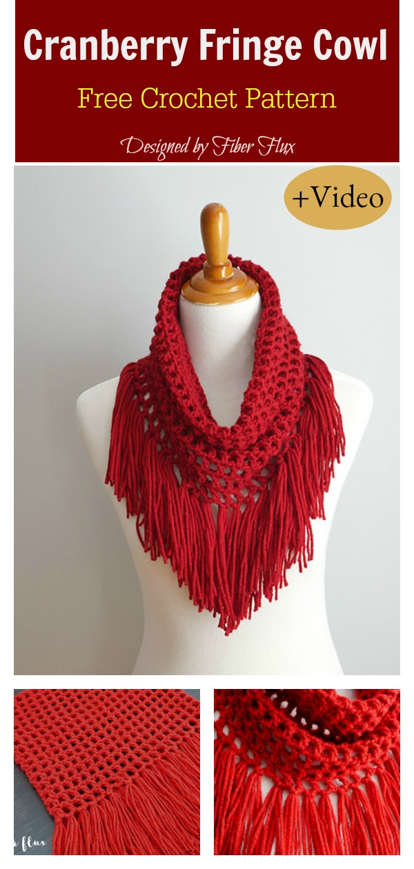 Cranberry Fringe Cowl Free Crochet Pattern and VIdeo Tutorial