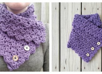 Folded Ivy Button Cowl Free Crochet Pattern