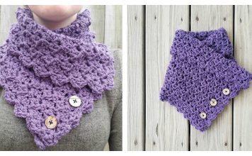 Folded Ivy Button Cowl Free Crochet Pattern