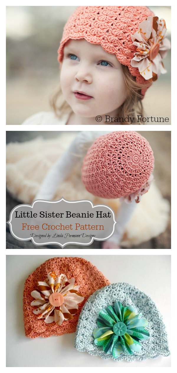 Little Sister Beanie Hat Free Crochet Pattern