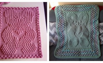 Popcorn Stitch Bear Baby Blanket Free Crochet Pattern