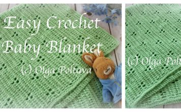 Rabbit Tracks Baby Blanket Free Crochet Pattern and Video Tutorial