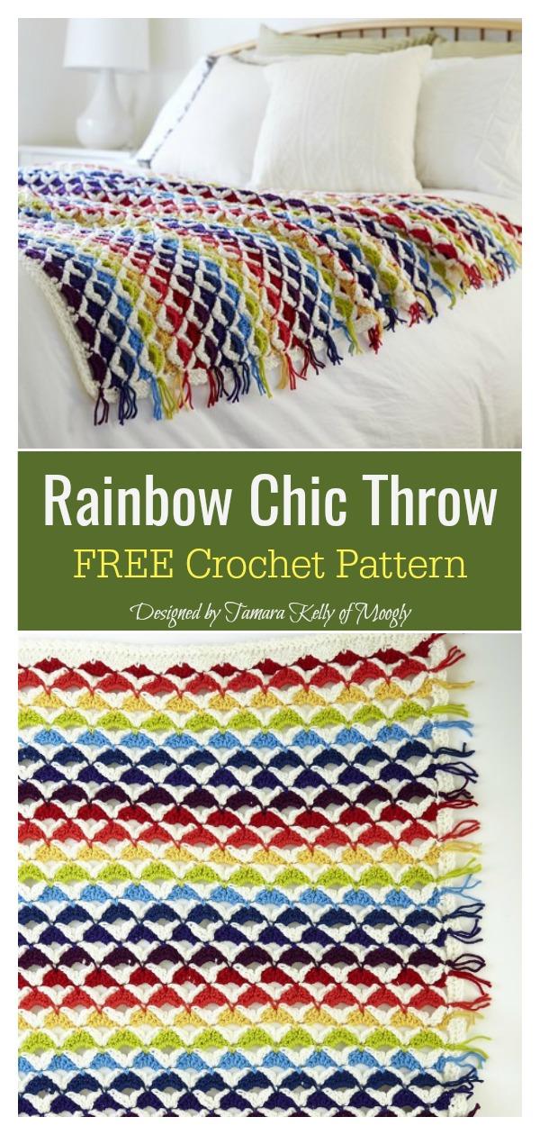 Rainbow Chic Throw FREE Crochet Pattern