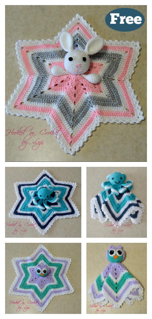 6 Point Star Baby Lovey Blanket Free Crochet Pattern